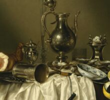Willem Claesz Heda - Banquet Piece With Ham . Still life with fruits and vegetables: fruit, Lemon , glass of wine, tasty, gastronomy food, flowers, dish, cooking, kitchen, vase Sticker