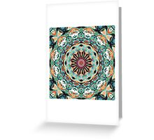 Ornate Orange And Green Abstract Greeting Card