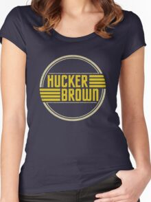 Hucker Brown - retro yellow logo Women's Fitted Scoop T-Shirt