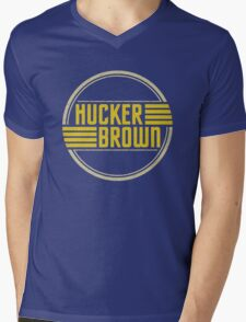 Hucker Brown - retro yellow logo Mens V-Neck T-Shirt