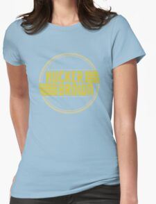 Hucker Brown - retro yellow logo Womens Fitted T-Shirt