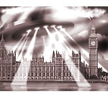 UFO Over London (Sepia) Photographic Print