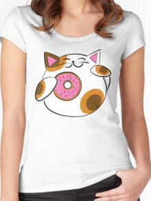 Donut Lucky cat Women's Fitted Scoop T-Shirt
