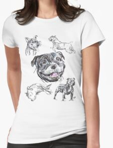 Mixed Media - Staffordshire Bull Terriers Womens Fitted T-Shirt