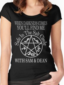 SAFE IN THE SALT CIRCLE WITH SAM AND DEAN  Women's Fitted Scoop T-Shirt