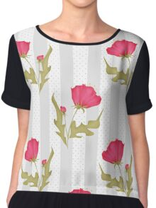 Seamless texture with red flowers on a striped background.  Chiffon Top