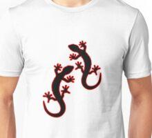 Zwei Geckos schwarz rot Unisex T-Shirt