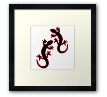 Zwei Geckos schwarz rot Framed Print