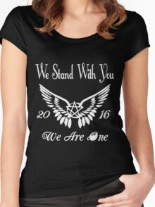 SUPERNATURAL WE STAND WITH YOU 2016 WE ARE ONE Women's Fitted Scoop T-Shirt