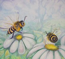 Bees and Daisies I love you by Monica Batiste