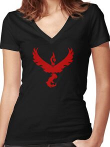 Pokemon GO: Team Valor - Clean (Red Team) Women's Fitted V-Neck T-Shirt