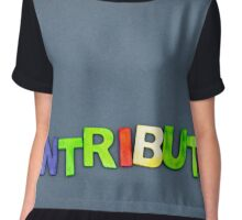 Word Contributor created of wood letters on dark background Chiffon Top