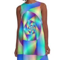 Spiral in Blue and Purple A-Line Dress