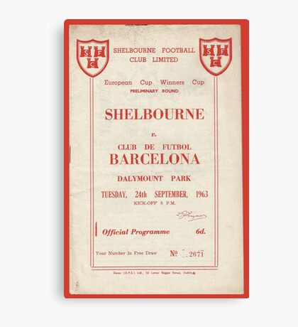 SHELBOURNE VS BARCELONA - PROGRAMME COVER  Canvas Print