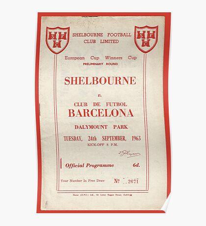 SHELBOURNE VS BARCELONA - PROGRAMME COVER  Poster