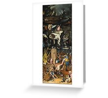 Hieronymus Bosch - The Garden Of Earthly Delights Art Fragment Painting: eden, hell, beauty, adam, retro animals, birds, cool love, trendy gift, celebration, vintage monster, doodle, birthday, fantasy Greeting Card