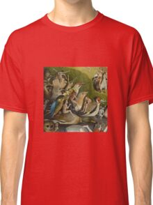 Hieronymus Bosch - The Garden Of Earthly Delights Art Fragment Painting: eden, hell, beauty, adam, retro animals, birds, cool love, trendy gift, celebration, vintage monster, doodle, birthday, fantasy Classic T-Shirt