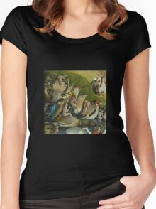 Hieronymus Bosch - The Garden Of Earthly Delights Art Fragment Painting: eden, hell, beauty, adam, retro animals, birds, cool love, trendy gift, celebration, vintage monster, doodle, birthday, fantasy Women's Fitted Scoop T-Shirt