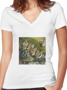 Hieronymus Bosch - The Garden Of Earthly Delights Art Fragment Painting: eden, hell, beauty, adam, retro animals, birds, cool love, trendy gift, celebration, vintage monster, doodle, birthday, fantasy Women's Fitted V-Neck T-Shirt