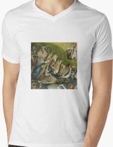 Hieronymus Bosch - The Garden Of Earthly Delights Art Fragment Painting: eden, hell, beauty, adam, retro animals, birds, cool love, trendy gift, celebration, vintage monster, doodle, birthday, fantasy Mens V-Neck T-Shirt
