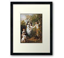 Thomas Gainsborough - The Marsham Children 1787. Children portrait: Children, cute girls, child, nature, beautiful dress, face with hairs, smile, little, kids, dogs, weekend Framed Print