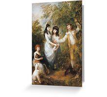 Thomas Gainsborough - The Marsham Children 1787. Children portrait: Children, cute girls, child, nature, beautiful dress, face with hairs, smile, little, kids, dogs, weekend Greeting Card