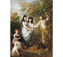 Thomas Gainsborough - The Marsham Children 1787. Children portrait: Children, cute girls, child, nature, beautiful dress, face with hairs, smile, little, kids, dogs, weekend Photographic Print
