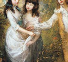Thomas Gainsborough - The Marsham Children 1787. Children portrait: Children, cute girls, child, nature, beautiful dress, face with hairs, smile, little, kids, dogs, weekend Sticker