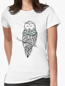 Poetic Snow Owl  Womens Fitted T-Shirt