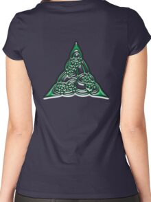 CELTS, Celtic knot, Triangle, Lindisfarne Gospels, green with doubled threads.  Women's Fitted Scoop T-Shirt