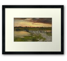 Thomas Moran - The Old Bridge Over Hook Pond, East Hampton, Long Island 1907. Country landscape: village view, country, buildings, house, rustic, farm, field, countryside road, trees, garden, flowers Framed Print