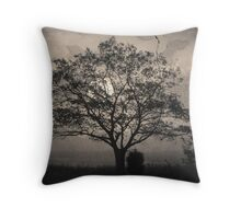 Landscape On Adobe Wall Toned Throw Pillow