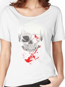 Skull with Blood Spattered Bandanna and Eye Patch Women's Relaxed Fit T-Shirt