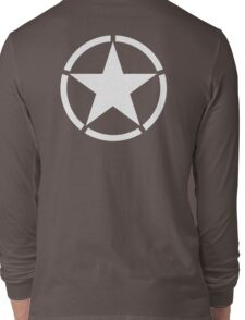 AMERICAN, ARMY, STAR, Star & Circle, Jeep, WWII, America, American, Americana,  USA, White, on Army Green Long Sleeve T-Shirt