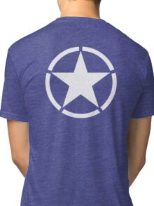 AMERICAN, ARMY, STAR, Star & Circle, Jeep, WWII, America, American, Americana,  USA, White, on Army Green Tri-blend T-Shirt