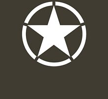 AMERICAN, ARMY, STAR, Star & Circle, Jeep, WWII, America, American, Americana,  USA, White, on Army Green Unisex T-Shirt