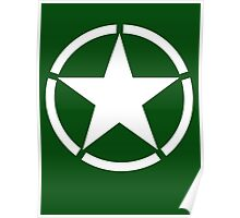 AMERICAN, ARMY, STAR, Star & Circle, Jeep, WWII, America, American, Americana,  USA, White, on Army Green Poster