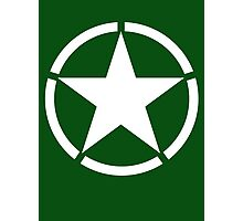 AMERICAN, ARMY, STAR, Star & Circle, Jeep, WWII, America, American, Americana,  USA, White, on Army Green Photographic Print
