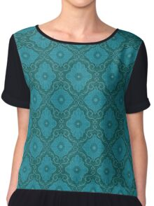 """""""Turquoise flowers"""" floral arabesque pattern Chiffon Top"""