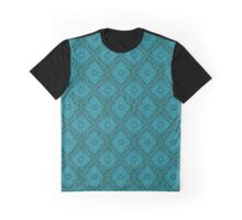 """Turquoise flowers"" floral arabesque pattern Graphic T-Shirt"