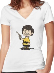 CHARLIE BRONSON / CHARLES BROWN Women's Fitted V-Neck T-Shirt