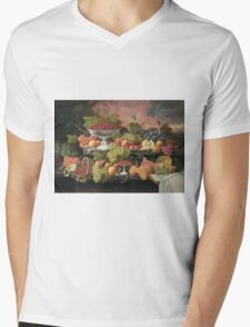 Severin Roesen - Two Tiered Still Life With Fruit And Sunset Landscape. Still life with fruits: strawberries , champagne,lemon, grapes , cherries, peaches, apples, pears, apricots, raspberries, vase Mens V-Neck T-Shirt