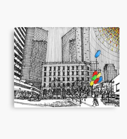 Sunny Day Cityscape Streetscape Canvas Print
