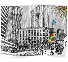 Sunny Day Cityscape Streetscape Poster
