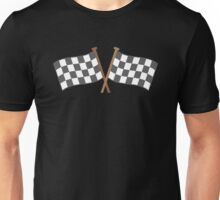 Checkered flagged crossed finish line race Unisex T-Shirt