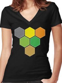 V for VICTORY (CATAN) Women's Fitted V-Neck T-Shirt