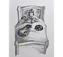 Childrens -with dog, cat and toys Photographic Print
