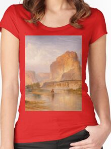 Thomas Moran - Cliffs Of Green River. Mountains landscape: mountains, rocks, rocky nature, sky and clouds, trees, peak, forest, Canyon, hill, travel, hillside Women's Fitted Scoop T-Shirt