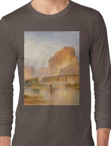 Thomas Moran - Cliffs Of Green River. Mountains landscape: mountains, rocks, rocky nature, sky and clouds, trees, peak, forest, Canyon, hill, travel, hillside Long Sleeve T-Shirt