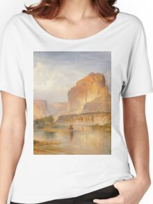 Thomas Moran - Cliffs Of Green River. Mountains landscape: mountains, rocks, rocky nature, sky and clouds, trees, peak, forest, Canyon, hill, travel, hillside Women's Relaxed Fit T-Shirt
